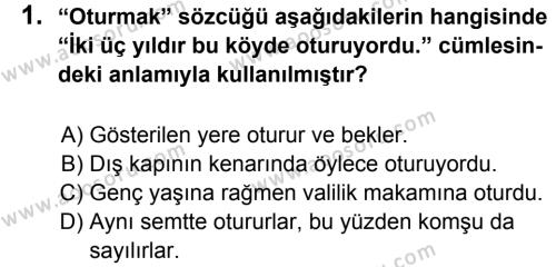 Türkçe 5 Dersi 2013 - 2014 Yılı 1. Dönem Sınavı 1. Soru