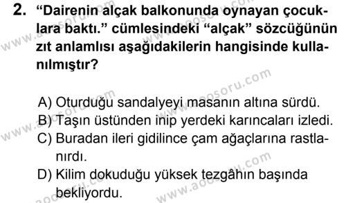 Türkçe 5 Dersi 2013 - 2014 Yılı 1. Dönem Sınavı 2. Soru