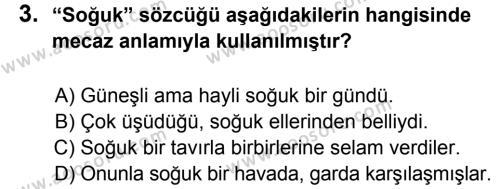 Türkçe 5 Dersi 2013 - 2014 Yılı 1. Dönem Sınavı 3. Soru