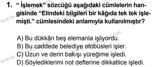 Türkçe 5 Dersi 2013 - 2014 Yılı 2. Dönem Sınavı 1. Soru