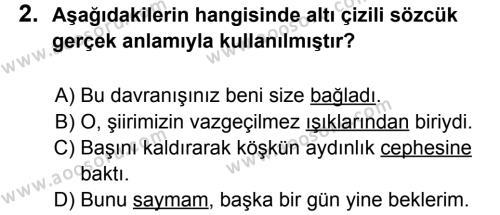 Türkçe 5 Dersi 2013 - 2014 Yılı 2. Dönem Sınavı 2. Soru