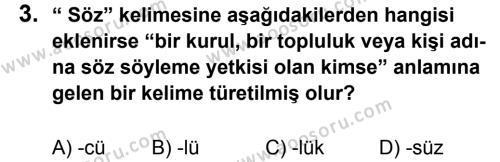 Türkçe 5 Dersi 2013 - 2014 Yılı 2. Dönem Sınavı 3. Soru