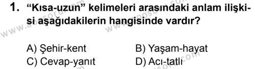 Türkçe 5 Dersi 2013 - 2014 Yılı 3. Dönem Sınavı 1. Soru