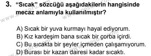 Türkçe 5 Dersi 2013 - 2014 Yılı 3. Dönem Sınavı 3. Soru