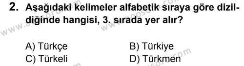 Türkçe 5 Dersi 2014 - 2015 Yılı 1. Dönem Sınavı 2. Soru
