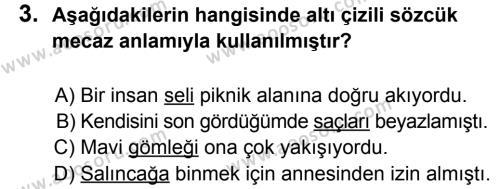Türkçe 5 Dersi 2014 - 2015 Yılı 1. Dönem Sınavı 3. Soru