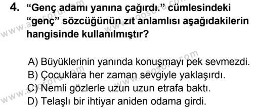 Türkçe 5 Dersi 2014 - 2015 Yılı 1. Dönem Sınavı 4. Soru