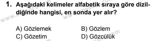 Türkçe 5 Dersi 2014 - 2015 Yılı 2. Dönem Sınavı 1. Soru
