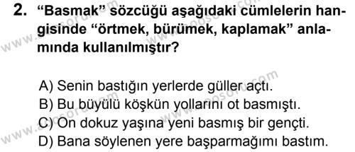 Türkçe 5 Dersi 2014 - 2015 Yılı 2. Dönem Sınavı 2. Soru