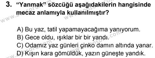 Türkçe 5 Dersi 2014 - 2015 Yılı 2. Dönem Sınavı 3. Soru
