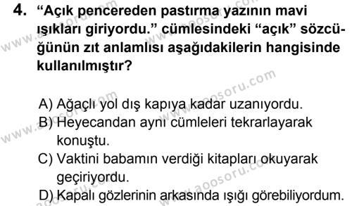 Türkçe 5 Dersi 2014 - 2015 Yılı 2. Dönem Sınavı 4. Soru