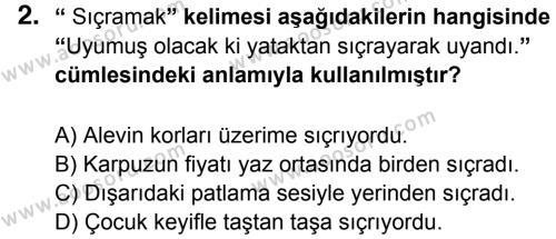 Türkçe 5 Dersi 2014 - 2015 Yılı 3. Dönem Sınavı 2. Soru