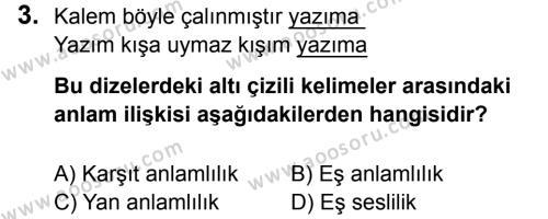 Türkçe 5 Dersi 2014 - 2015 Yılı 3. Dönem Sınavı 3. Soru