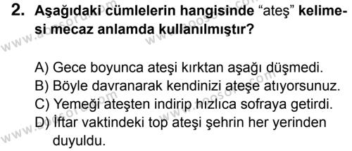 Türkçe 5 Dersi 2015 - 2016 Yılı 3. Dönem Sınavı 2. Soru