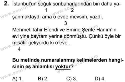 Türkçe 5 Dersi 2016 - 2017 Yılı 1. Dönem Sınavı 2. Soru