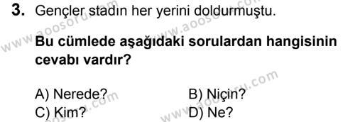 Türkçe 5 Dersi 2016 - 2017 Yılı 1. Dönem Sınavı 3. Soru