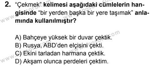 Türkçe 5 Dersi 2016 - 2017 Yılı 2. Dönem Sınavı 2. Soru