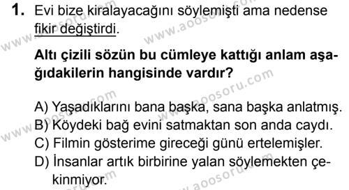 Türkçe 5 Dersi 2016 - 2017 Yılı 3. Dönem Sınavı 1. Soru