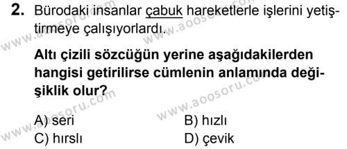 Türkçe 5 Dersi 2016 - 2017 Yılı 3. Dönem Sınavı 2. Soru