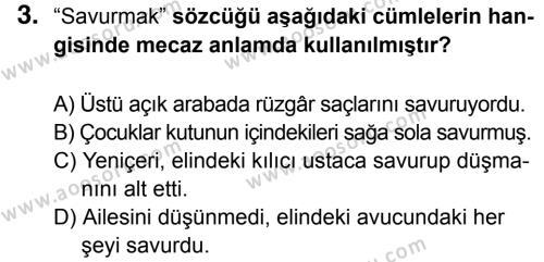 Türkçe 5 Dersi 2016 - 2017 Yılı 3. Dönem Sınavı 3. Soru