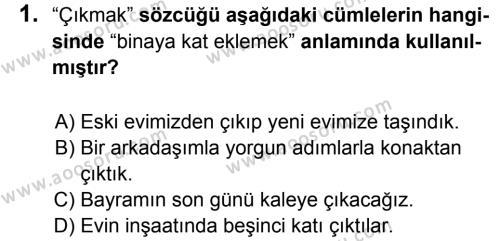 Türkçe 5 Dersi 2017 - 2018 Yılı 1. Dönem Sınavı 1. Soru