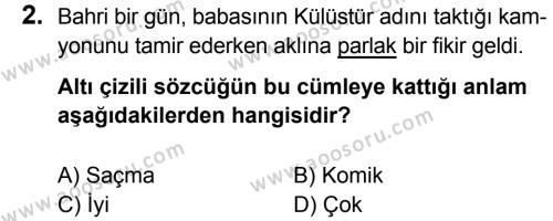 Türkçe 5 Dersi 2017 - 2018 Yılı 1. Dönem Sınavı 2. Soru