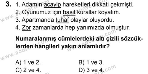 Türkçe 5 Dersi 2017 - 2018 Yılı 1. Dönem Sınavı 3. Soru