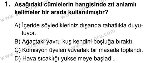 Türkçe 5 Dersi 2017 - 2018 Yılı 3. Dönem Sınavı 1. Soru