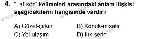 Türkçe 5 Dersi 2017 - 2018 Yılı 3. Dönem Sınavı 4. Soru