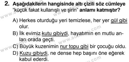 Türkçe 5 Dersi 2018 - 2019 Yılı 1. Dönem Sınavı 2. Soru