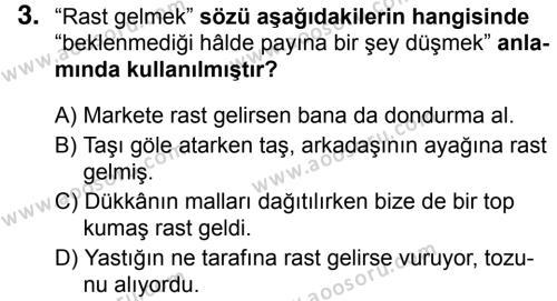 Türkçe 5 Dersi 2018 - 2019 Yılı 1. Dönem Sınavı 3. Soru