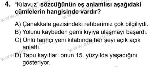 Türkçe 5 Dersi 2018 - 2019 Yılı 1. Dönem Sınavı 4. Soru