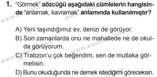 Türkçe 5 Dersi 2018 - 2019 Yılı 2. Dönem Sınavı 1. Soru