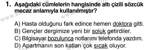 Türkçe 5 Dersi 2018 - 2019 Yılı 3. Dönem Sınavı 1. Soru