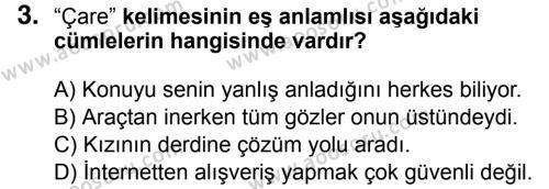 Türkçe 5 Dersi 2018 - 2019 Yılı 3. Dönem Sınavı 3. Soru