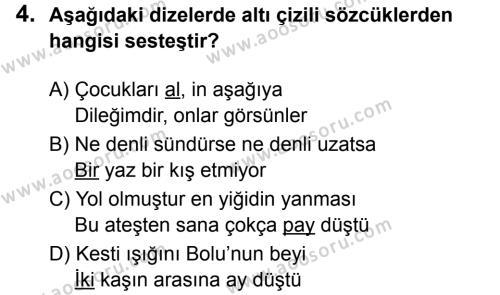 Türkçe 5 Dersi 2019 - 2020 Yılı 1. Dönem Sınavı 4. Soru