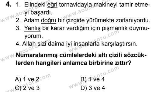 Türkçe 5 Dersi 2019 - 2020 Yılı 2. Dönem Sınavı 4. Soru