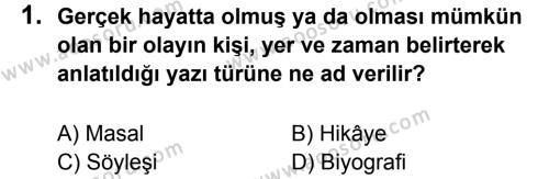 Türkçe 6 Dersi 2011 - 2012 Yılı 2. Dönem Sınavı 1. Soru