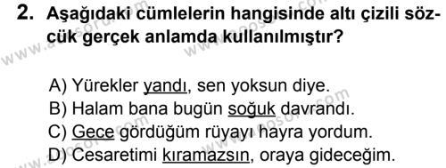 Türkçe 6 Dersi 2011 - 2012 Yılı 2. Dönem Sınavı 2. Soru