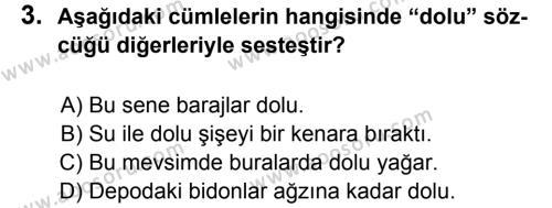 Türkçe 6 Dersi 2011 - 2012 Yılı 2. Dönem Sınavı 3. Soru