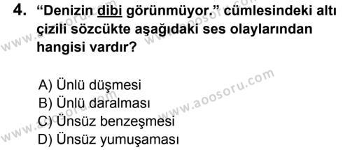 Türkçe 6 Dersi 2011 - 2012 Yılı 2. Dönem Sınavı 4. Soru