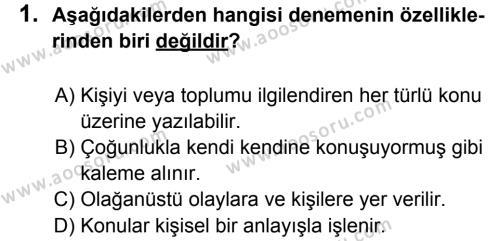 Türkçe 6 Dersi 2011 - 2012 Yılı 3. Dönem Sınavı 1. Soru