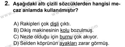 Türkçe 6 Dersi 2011 - 2012 Yılı 3. Dönem Sınavı 2. Soru