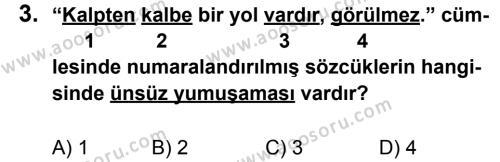 Türkçe 6 Dersi 2011 - 2012 Yılı 3. Dönem Sınavı 3. Soru