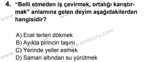 Türkçe 6 Dersi 2011 - 2012 Yılı 3. Dönem Sınavı 4. Soru