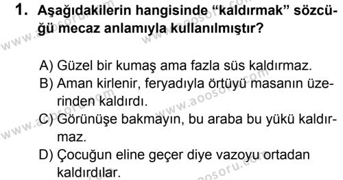 Türkçe 6 Dersi 2012 - 2013 Yılı 1. Dönem Sınavı 1. Soru