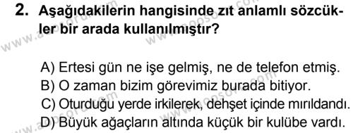 Türkçe 6 Dersi 2012 - 2013 Yılı 1. Dönem Sınavı 2. Soru