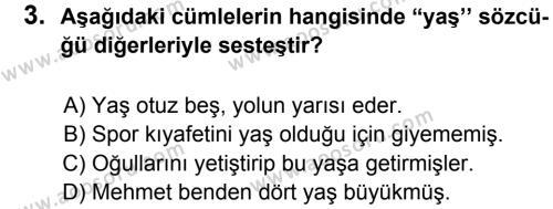 Türkçe 6 Dersi 2012 - 2013 Yılı 1. Dönem Sınavı 3. Soru