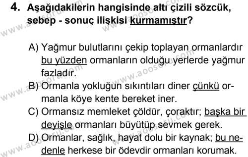 Türkçe 6 Dersi 2012 - 2013 Yılı 1. Dönem Sınavı 4. Soru