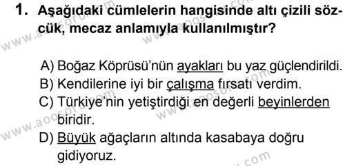 Türkçe 6 Dersi 2012 - 2013 Yılı 2. Dönem Sınavı 1. Soru